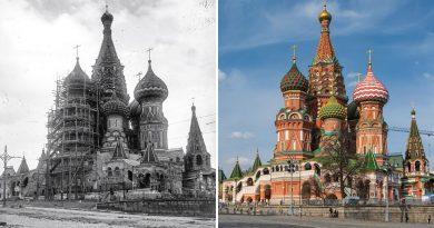 """Преди и след: храмът """"Василий Блажени"""" преди 100 години и днес"""